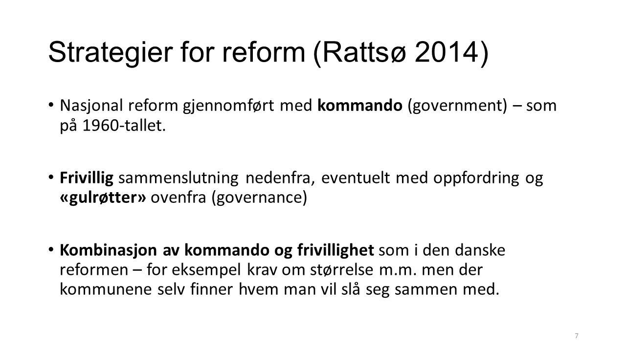 Strategier for reform (Rattsø 2014) Nasjonal reform gjennomført med kommando (government) – som på 1960-tallet. Frivillig sammenslutning nedenfra, eve