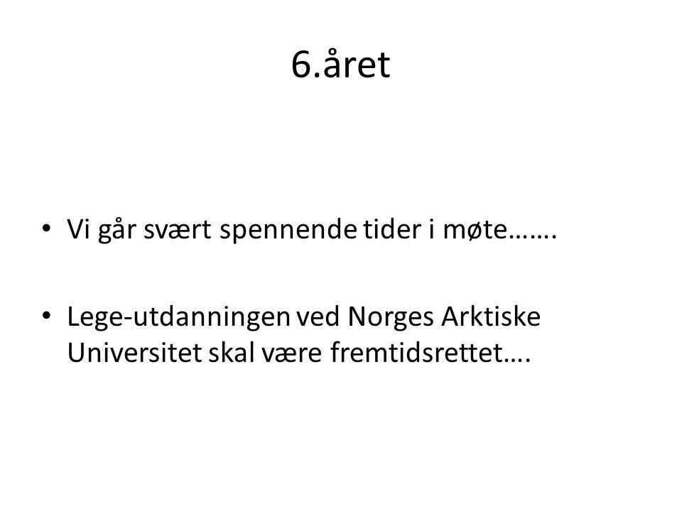 6.året Vi går svært spennende tider i møte……. Lege-utdanningen ved Norges Arktiske Universitet skal være fremtidsrettet….
