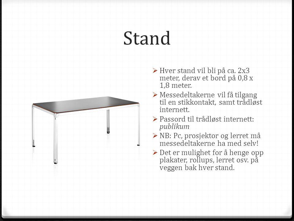 Stand  Hver stand vil bli på ca. 2x3 meter, derav et bord på 0,8 x 1,8 meter.  Messedeltakerne vil få tilgang til en stikkontakt, samt trådløst inte