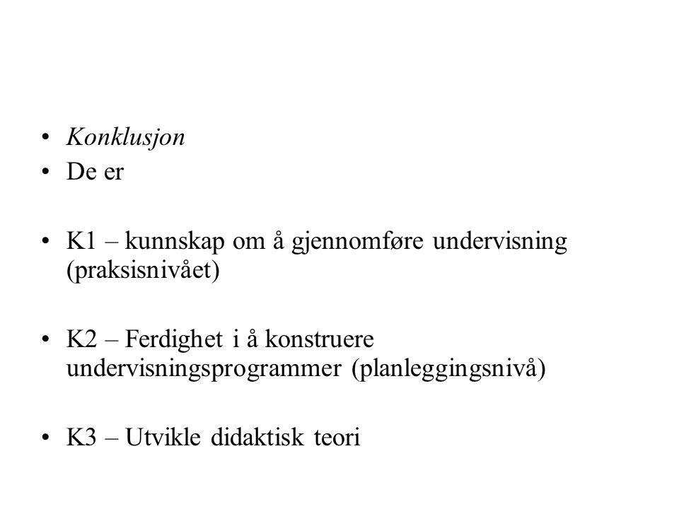 Konklusjon De er K1 – kunnskap om å gjennomføre undervisning (praksisnivået) K2 – Ferdighet i å konstruere undervisningsprogrammer (planleggingsnivå)
