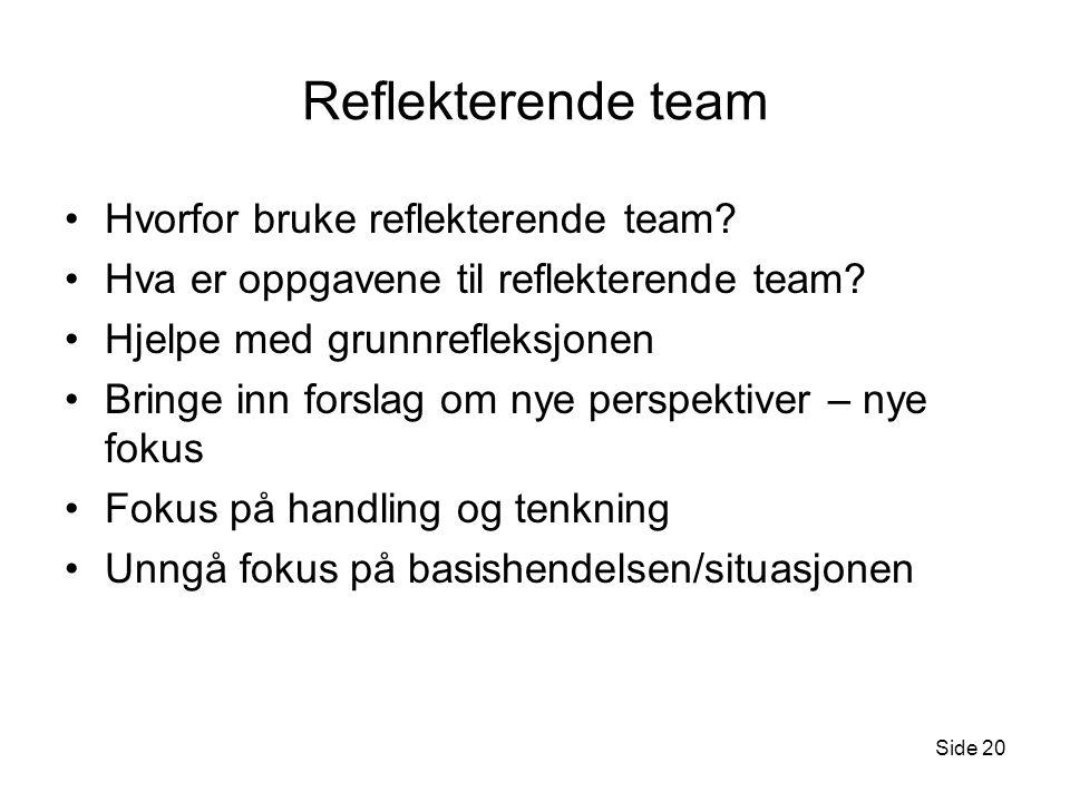 Reflekterende team Hvorfor bruke reflekterende team? Hva er oppgavene til reflekterende team? Hjelpe med grunnrefleksjonen Bringe inn forslag om nye p