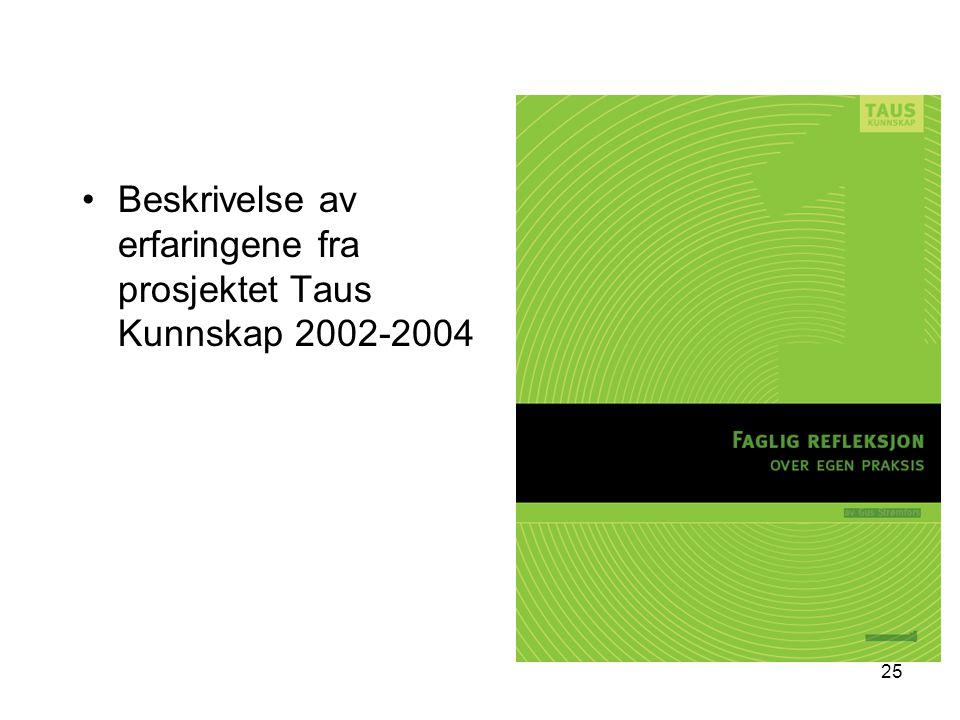 25 Beskrivelse av erfaringene fra prosjektet Taus Kunnskap 2002-2004
