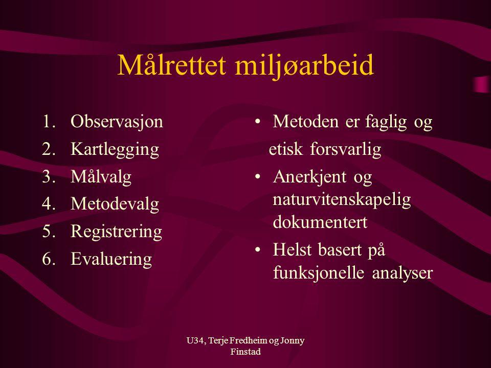 U34, Terje Fredheim og Jonny Finstad Målrettet miljøarbeid 1.Observasjon 2.Kartlegging 3.Målvalg 4.Metodevalg 5.Registrering 6.Evaluering Metoden er f