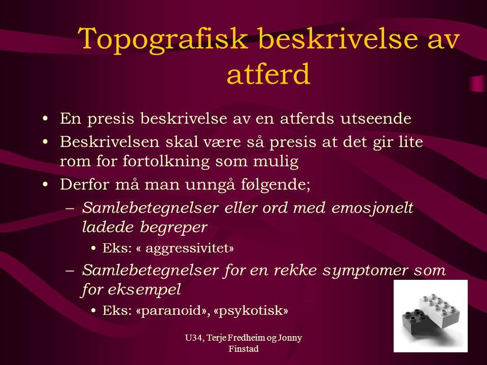 U34, Terje Fredheim og Jonny Finstad Topografisk beskrivelse av atferd En presis beskrivelse av en atferds utseende Beskrivelsen skal være så presis a