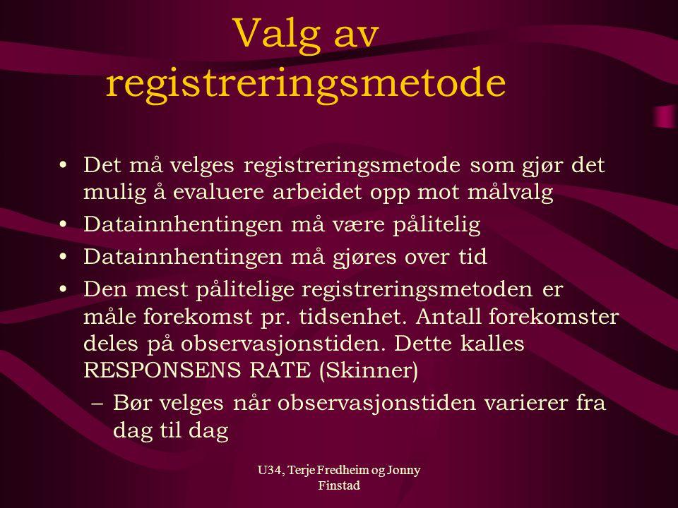 U34, Terje Fredheim og Jonny Finstad Valg av registreringsmetode Det må velges registreringsmetode som gjør det mulig å evaluere arbeidet opp mot målv