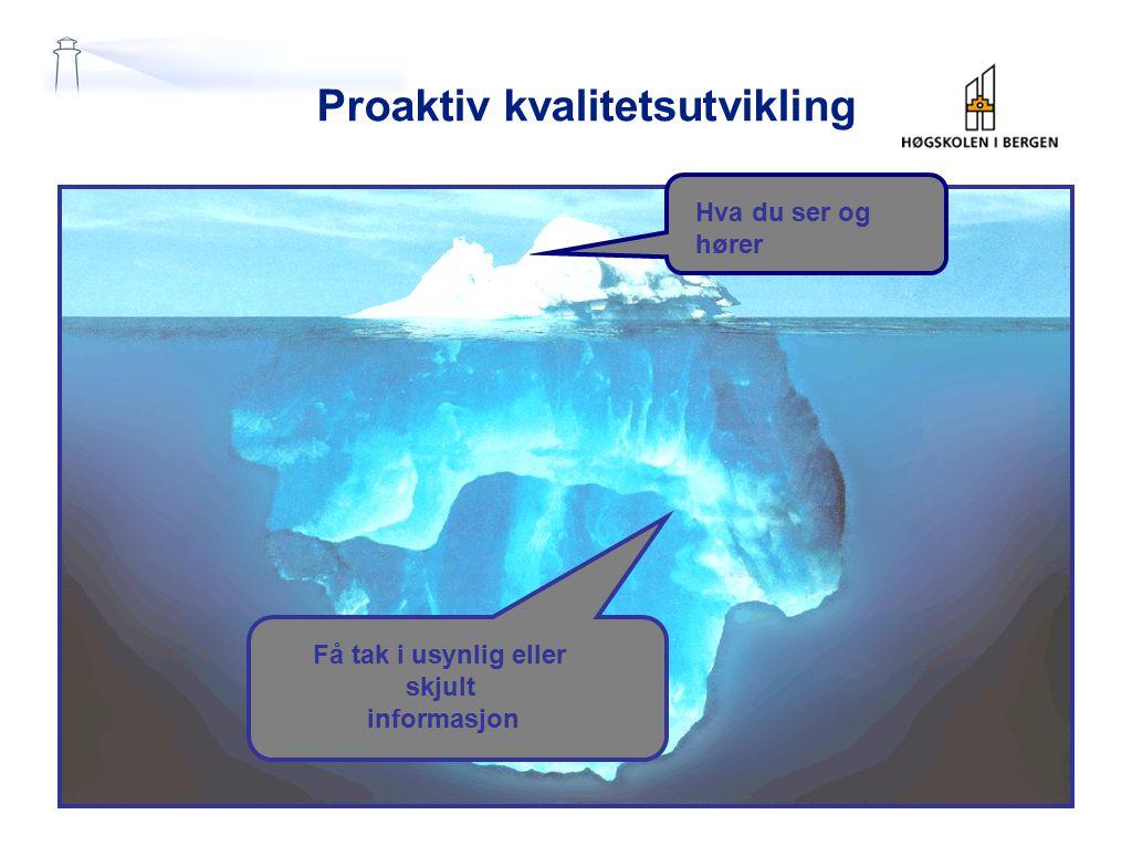Proaktiv kvalitetsutvikling Hva du ser og hører Få tak i usynlig eller skjult informasjon