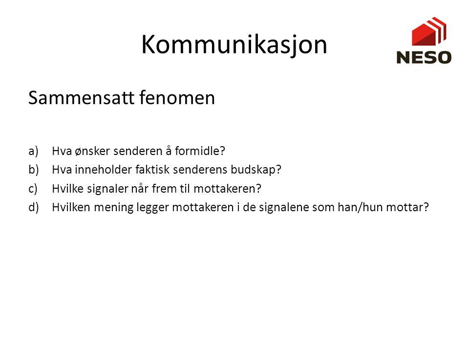 Kommunikasjon Sammensatt fenomen a)Hva ønsker senderen å formidle? b)Hva inneholder faktisk senderens budskap? c)Hvilke signaler når frem til mottaker
