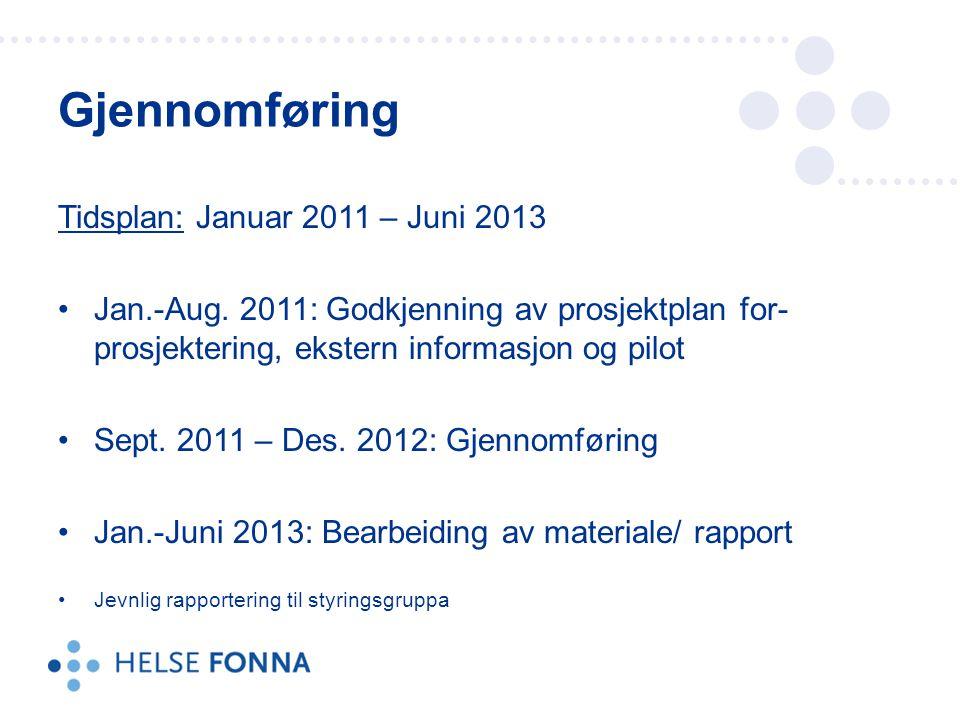 Tidsplan: Januar 2011 – Juni 2013 Jan.-Aug. 2011: Godkjenning av prosjektplan for- prosjektering, ekstern informasjon og pilot Sept. 2011 – Des. 2012: