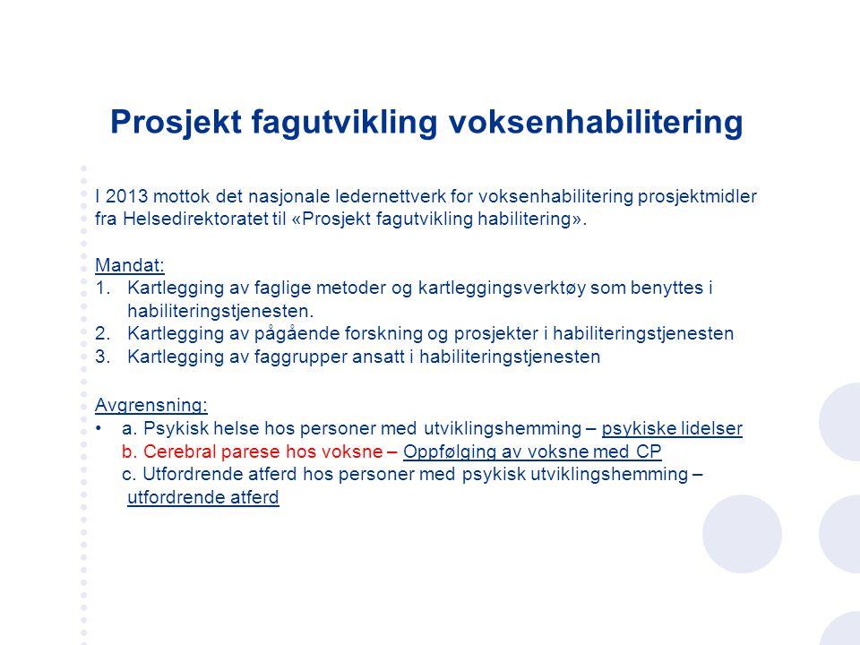 Prosjekt fagutvikling voksenhabilitering I 2013 mottok det nasjonale ledernettverk for voksenhabilitering prosjektmidler fra Helsedirektoratet til «Pr