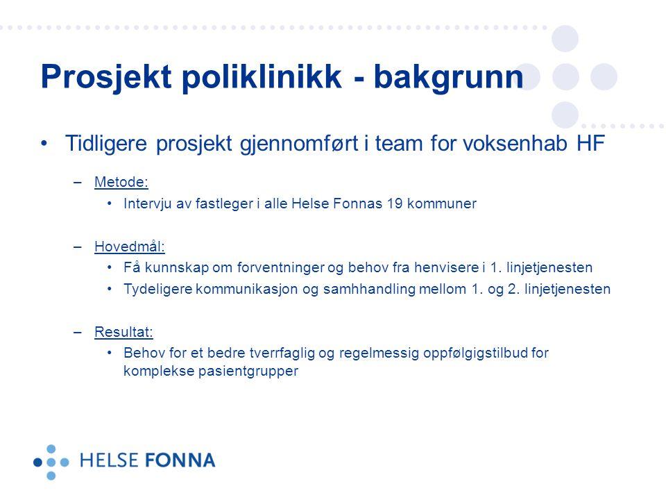 Tidligere prosjekt gjennomført i team for voksenhab HF –Metode: Intervju av fastleger i alle Helse Fonnas 19 kommuner –Hovedmål: Få kunnskap om forven