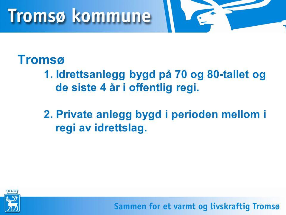 Tromsø 1. Idrettsanlegg bygd på 70 og 80-tallet og de siste 4 år i offentlig regi.