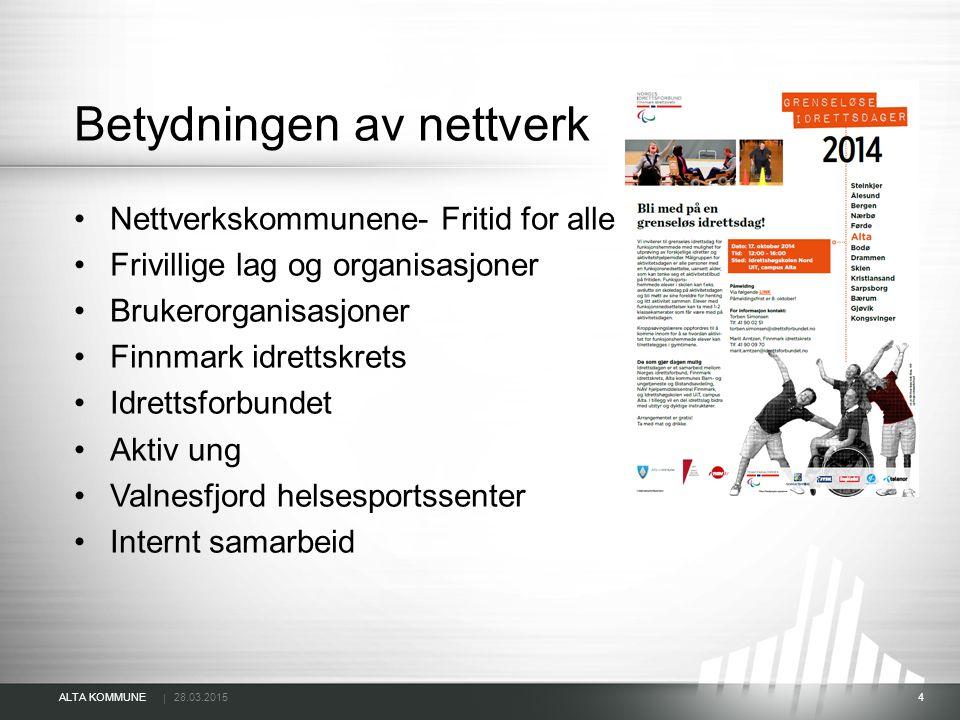 | ALTA KOMMUNE 28.03.2015 4 Betydningen av nettverk Nettverkskommunene- Fritid for alle Frivillige lag og organisasjoner Brukerorganisasjoner Finnmark