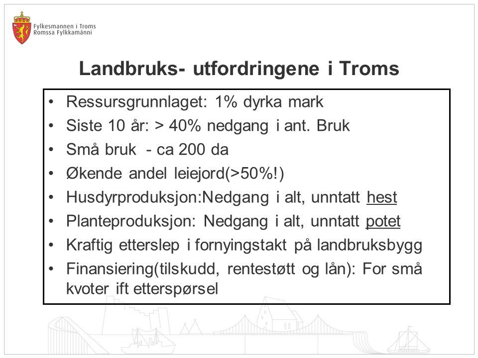 Landbruks- utfordringene i Troms Ressursgrunnlaget: 1% dyrka mark Siste 10 år: > 40% nedgang i ant.