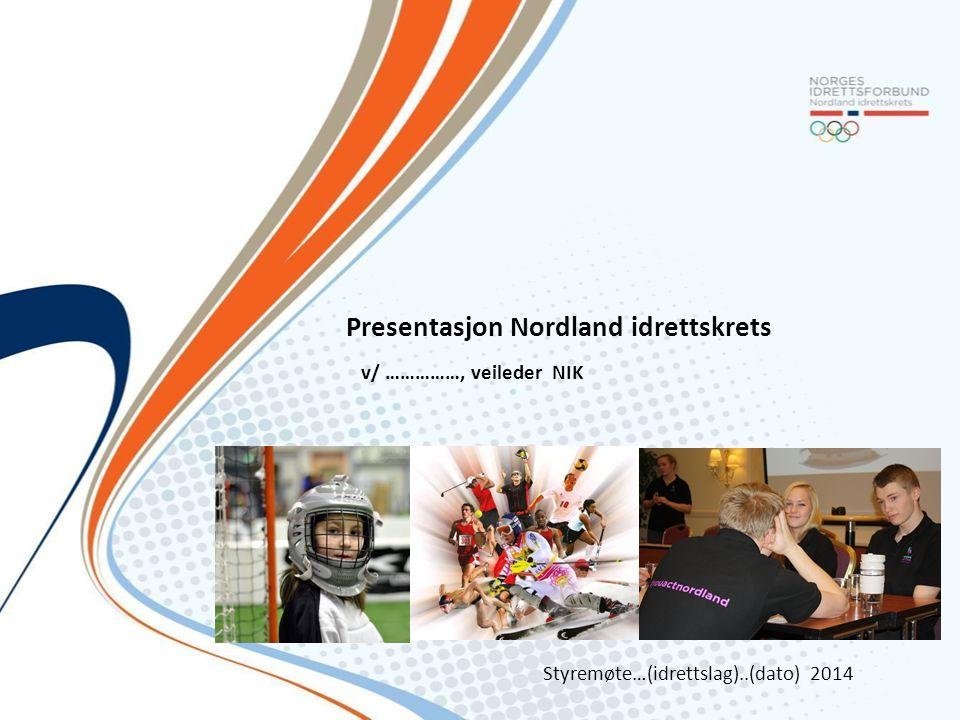 Presentasjon Nordland idrettskrets v/ ……………, veileder NIK Styremøte…(idrettslag)..(dato) 2014