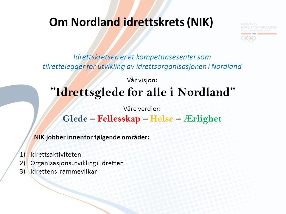 """Idrettskretsen er et kompetansesenter som tilrettelegger for utvikling av idrettsorganisasjonen i Nordland Vår visjon: """"Idrettsglede for alle i Nordla"""