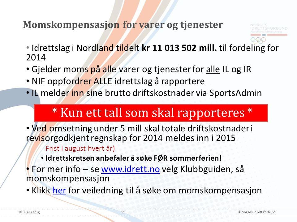 28. mars 2015 22© Norges Idrettsforbund * Kun ett tall som skal rapporteres * Idrettslag i Nordland tildelt kr 11 013 502 mill. til fordeling for 2014