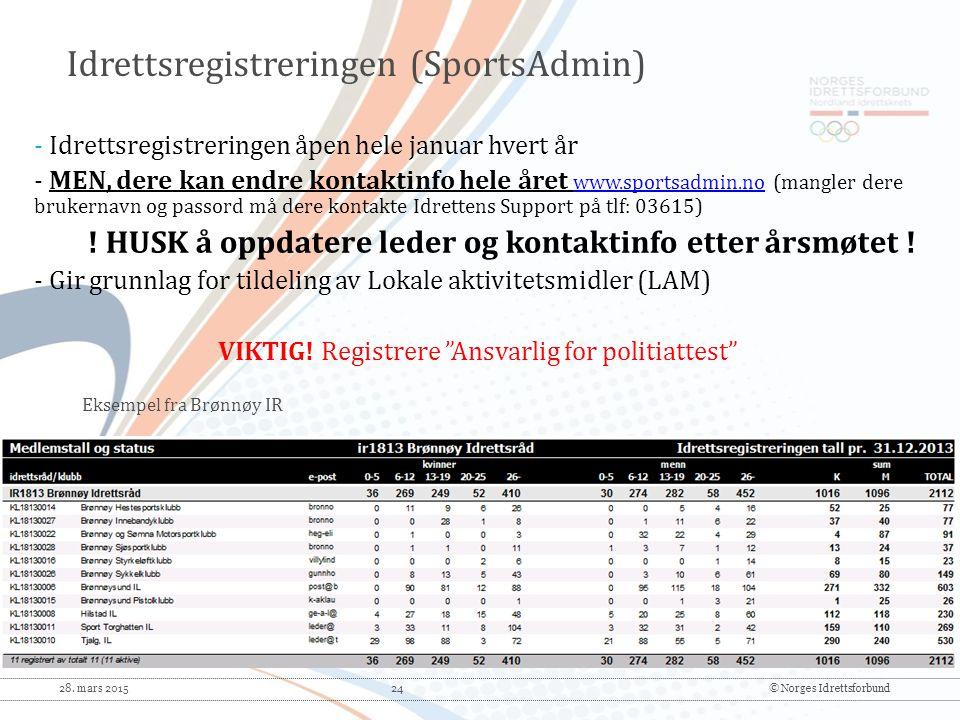 28. mars 2015 24© Norges Idrettsforbund - Idrettsregistreringen åpen hele januar hvert år - MEN, dere kan endre kontaktinfo hele året www.sportsadmin.
