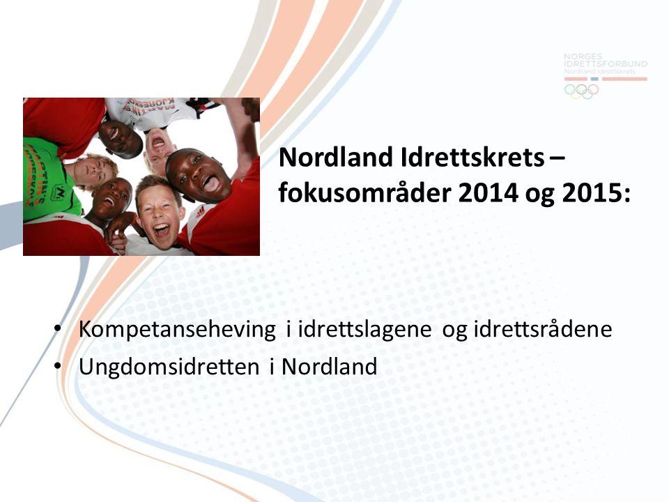 Nordland Idrettskrets – fokusområder 2014 og 2015: Kompetanseheving i idrettslagene og idrettsrådene Ungdomsidretten i Nordland