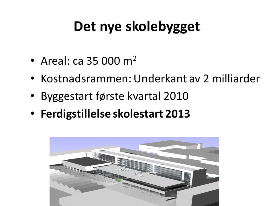 Det nye skolebygget Areal: ca 35 000 m 2 Kostnadsrammen: Underkant av 2 milliarder Byggestart første kvartal 2010 Ferdigstillelse skolestart 2013