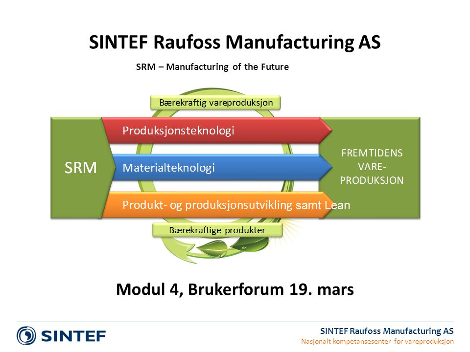 SINTEF Raufoss Manufacturing AS Nasjonalt kompetansesenter for vareproduksjon SINTEF Raufoss Manufacturing AS SRM – Manufacturing of the Future Modul 4, Brukerforum 19.