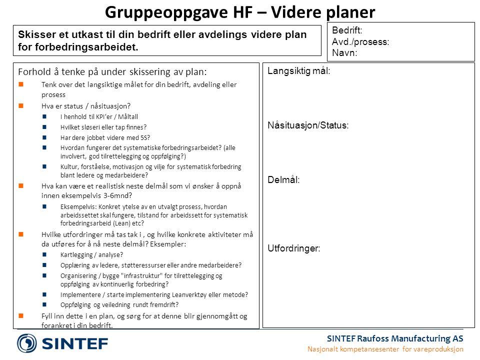 SINTEF Raufoss Manufacturing AS Nasjonalt kompetansesenter for vareproduksjon Gruppeoppgave HF – Videre planer Forhold å tenke på under skissering av
