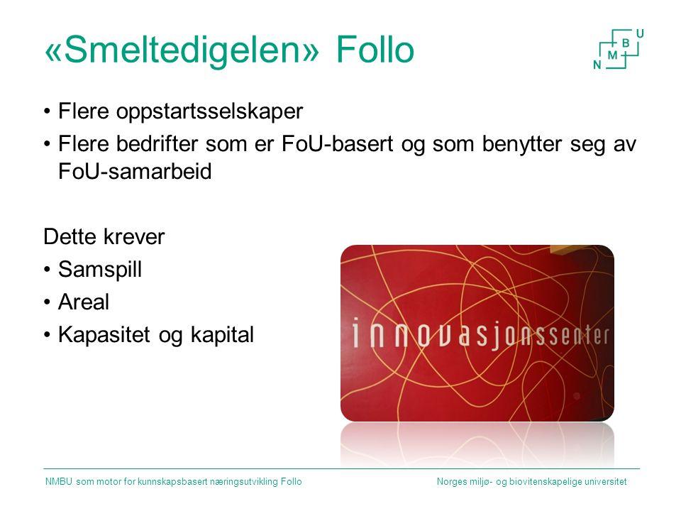 «Smeltedigelen» Follo Flere oppstartsselskaper Flere bedrifter som er FoU-basert og som benytter seg av FoU-samarbeid Dette krever Samspill Areal Kapa