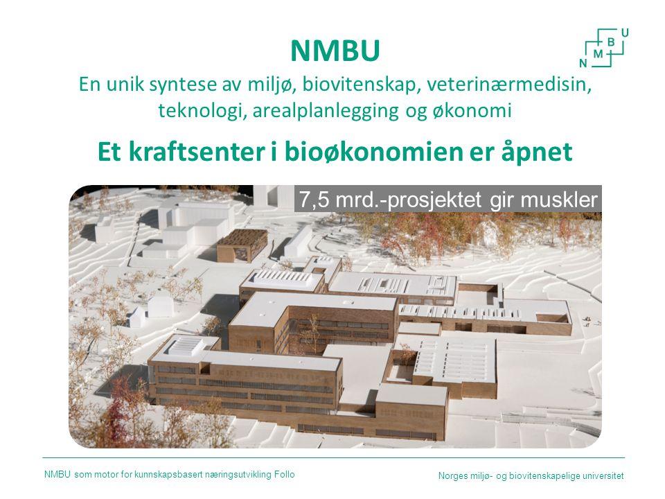NMBU En unik syntese av miljø, biovitenskap, veterinærmedisin, teknologi, arealplanlegging og økonomi Et kraftsenter i bioøkonomien er åpnet 7,5 mrd.-