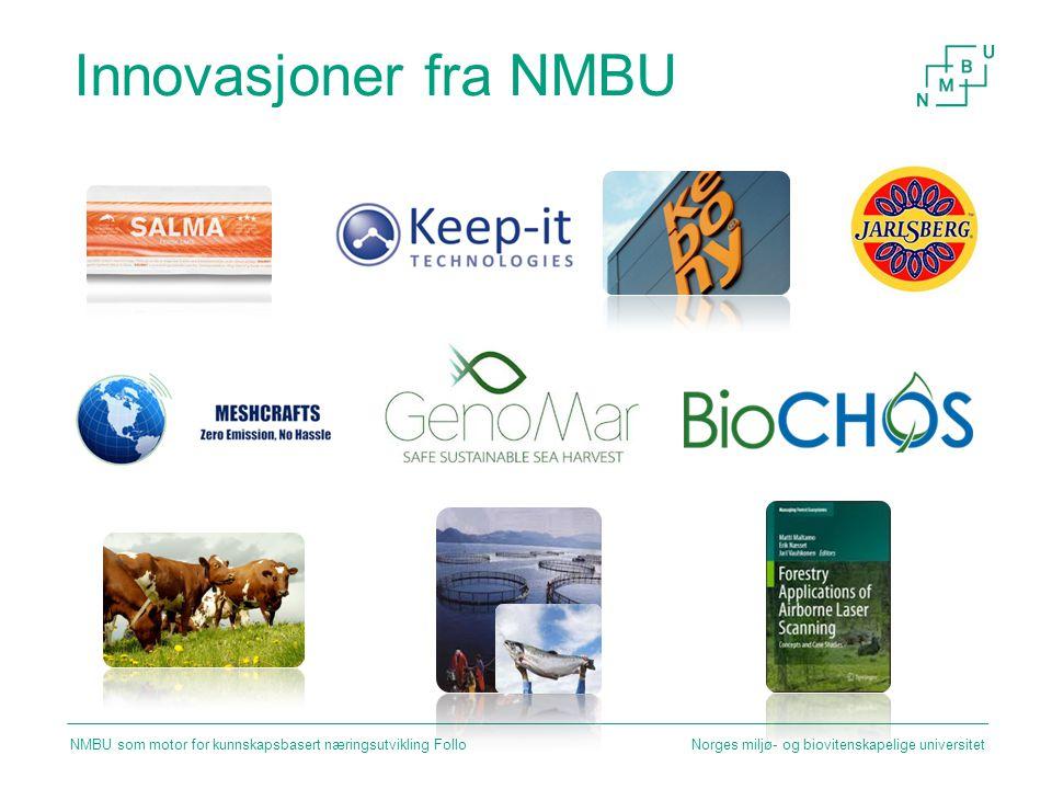 Innovasjoner fra NMBU Norges miljø- og biovitenskapelige universitet NMBU som motor for kunnskapsbasert næringsutvikling Follo