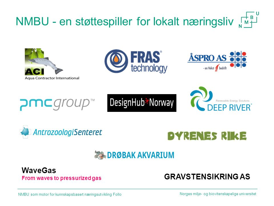 NMBU - en støttespiller for lokalt næringsliv WaveGas From waves to pressurized gas Norges miljø- og biovitenskapelige universitet GRAVSTENSIKRING AS