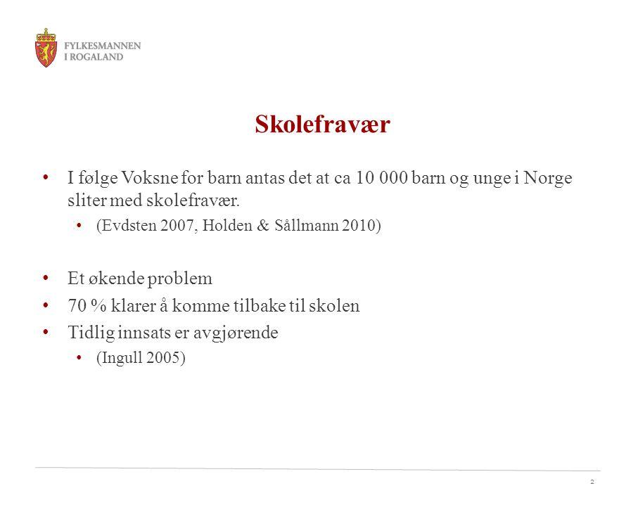 2 Skolefravær I følge Voksne for barn antas det at ca 10 000 barn og unge i Norge sliter med skolefravær. (Evdsten 2007, Holden & Sållmann 2010) Et øk