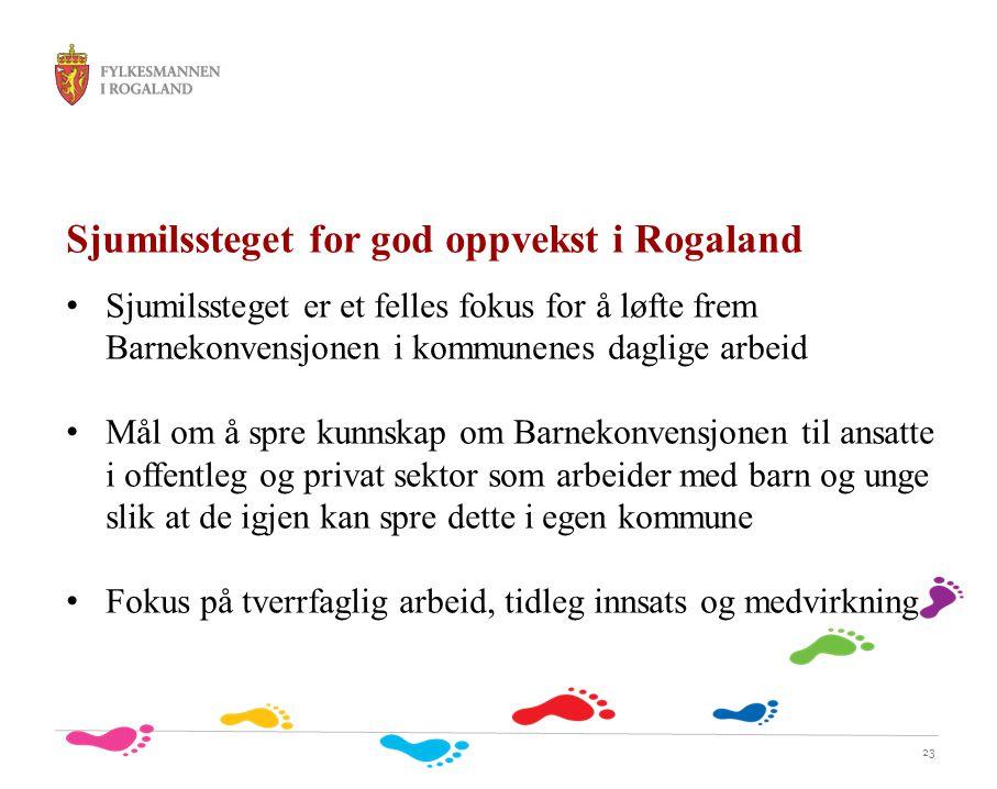 23 Sjumilssteget for god oppvekst i Rogaland Sjumilssteget er et felles fokus for å løfte frem Barnekonvensjonen i kommunenes daglige arbeid Mål om å