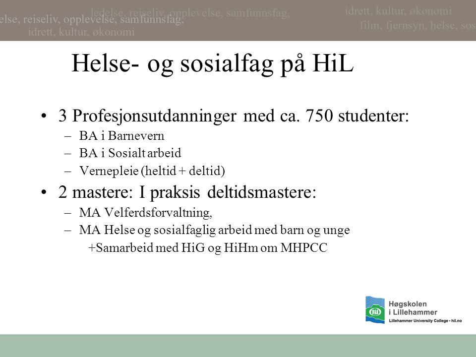 Helse- og sosialfag på HiL 3 Profesjonsutdanninger med ca. 750 studenter: –BA i Barnevern –BA i Sosialt arbeid –Vernepleie (heltid + deltid) 2 mastere