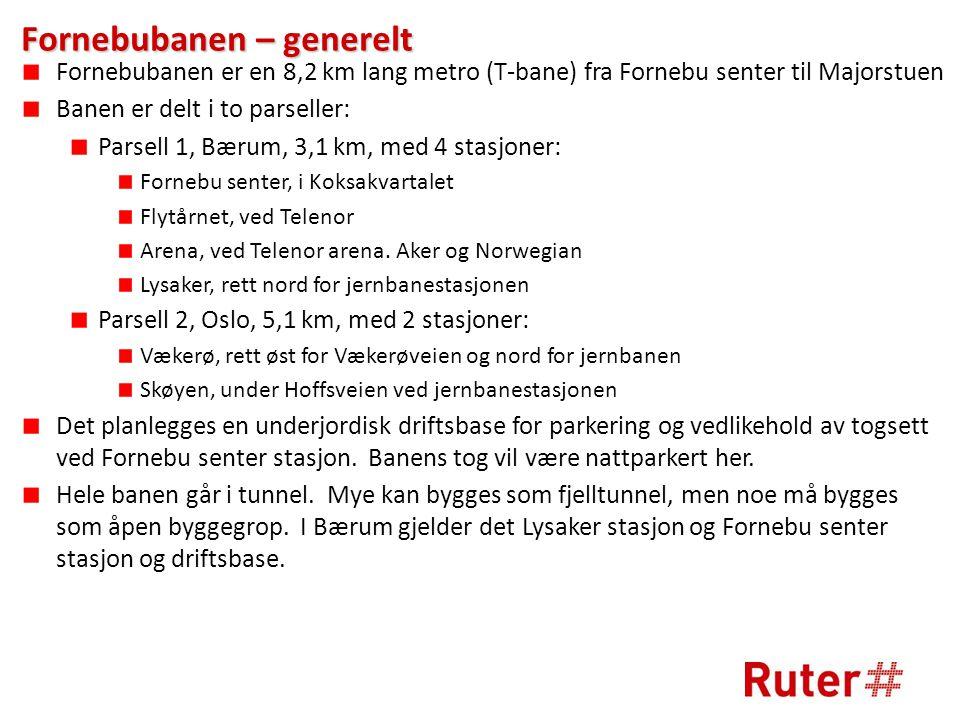 Fornebubanen – generelt Fornebubanen er en 8,2 km lang metro (T-bane) fra Fornebu senter til Majorstuen Banen er delt i to parseller: Parsell 1, Bærum, 3,1 km, med 4 stasjoner: Fornebu senter, i Koksakvartalet Flytårnet, ved Telenor Arena, ved Telenor arena.