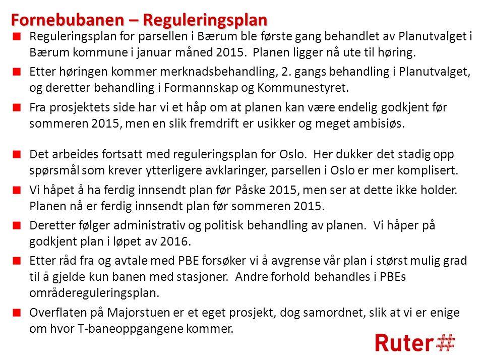 Fornebubanen – Reguleringsplan Reguleringsplan for parsellen i Bærum ble første gang behandlet av Planutvalget i Bærum kommune i januar måned 2015.