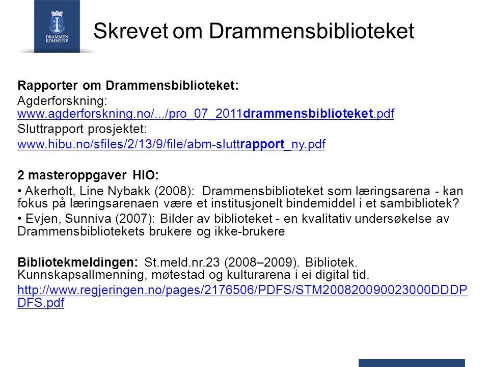 Skrevet om Drammensbiblioteket Rapporter om Drammensbiblioteket: Agderforskning: www.agderforskning.no/.../pro_07_2011drammensbiblioteket.pdf www.agderforskning.no/.../pro_07_2011drammensbiblioteket.pdf Sluttrapport prosjektet: www.hibu.no/sfiles/2/13/9/file/abm-sluttrapport_ny.pdf 2 masteroppgaver HIO: Akerholt, Line Nybakk (2008): Drammensbiblioteket som læringsarena - kan fokus på læringsarenaen være et institusjonelt bindemiddel i et sambibliotek.