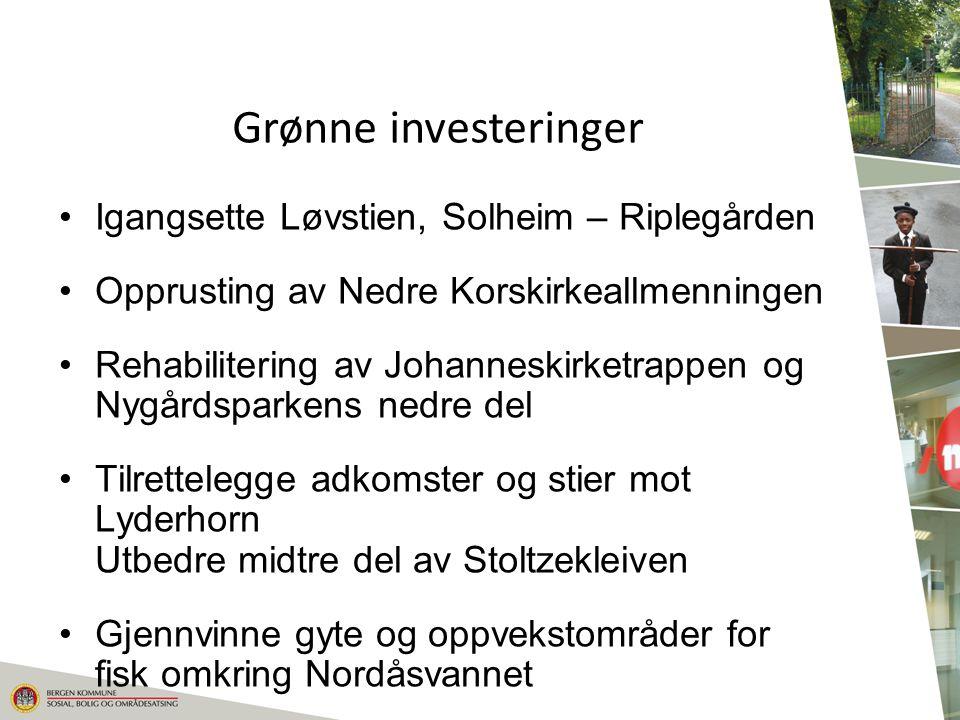 Grønne investeringer Igangsette Løvstien, Solheim – Riplegården Opprusting av Nedre Korskirkeallmenningen Rehabilitering av Johanneskirketrappen og Ny