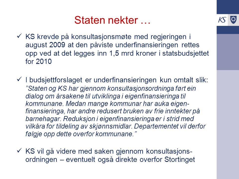 Staten nekter … KS krevde på konsultasjonsmøte med regjeringen i august 2009 at den påviste underfinansieringen rettes opp ved at det legges inn 1,5 m