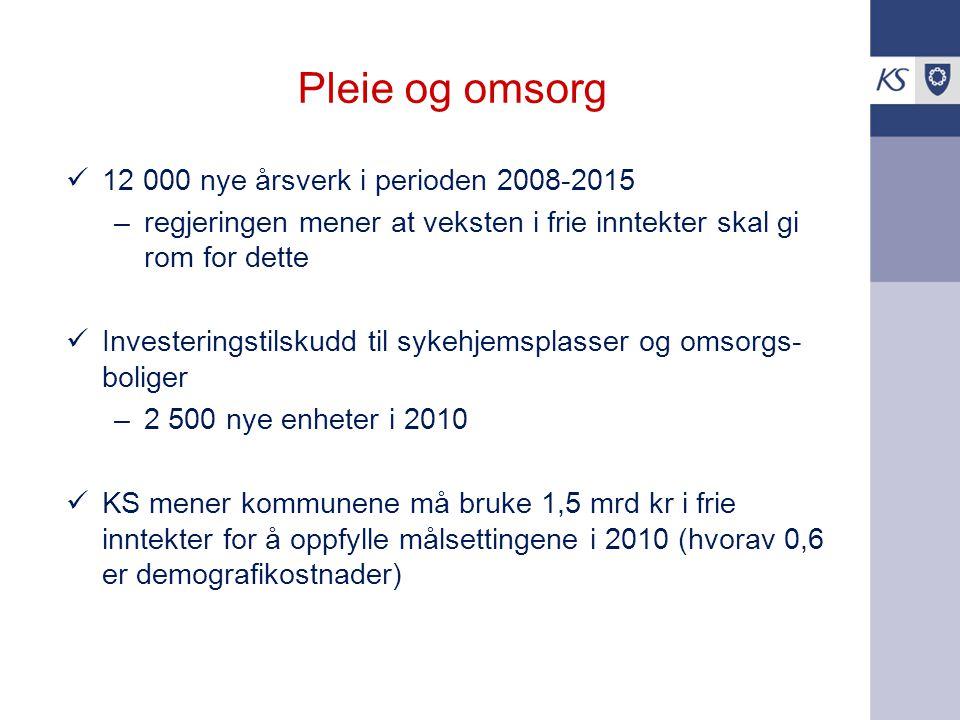 Pleie og omsorg 12 000 nye årsverk i perioden 2008-2015 –regjeringen mener at veksten i frie inntekter skal gi rom for dette Investeringstilskudd til
