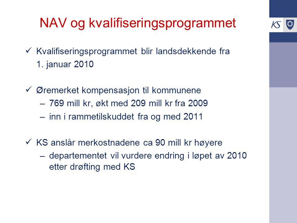 NAV og kvalifiseringsprogrammet Kvalifiseringsprogrammet blir landsdekkende fra 1. januar 2010 Øremerket kompensasjon til kommunene –769 mill kr, økt