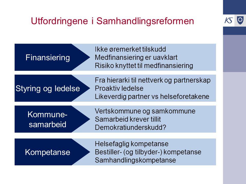 Ikke øremerket tilskudd Medfinansiering er uavklart Risiko knyttet til medfinansiering Utfordringene i Samhandlingsreformen Finansiering Fra hierarki