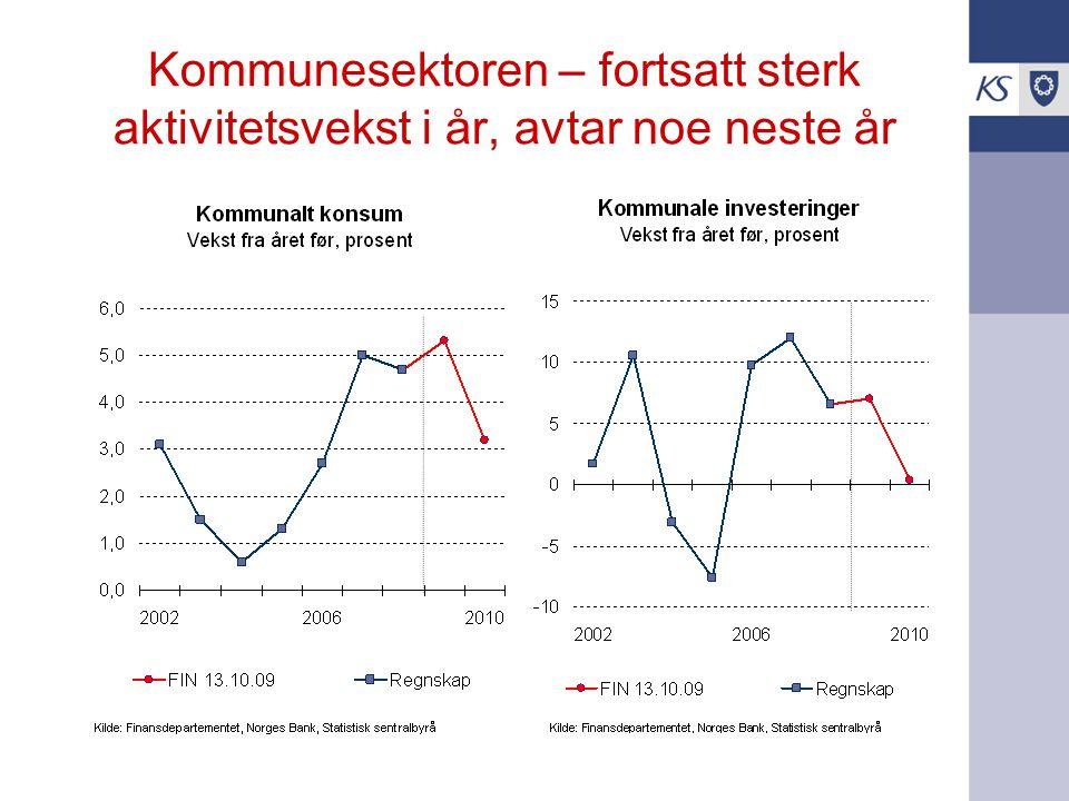 Kommunesektoren – fortsatt sterk aktivitetsvekst i år, avtar noe neste år