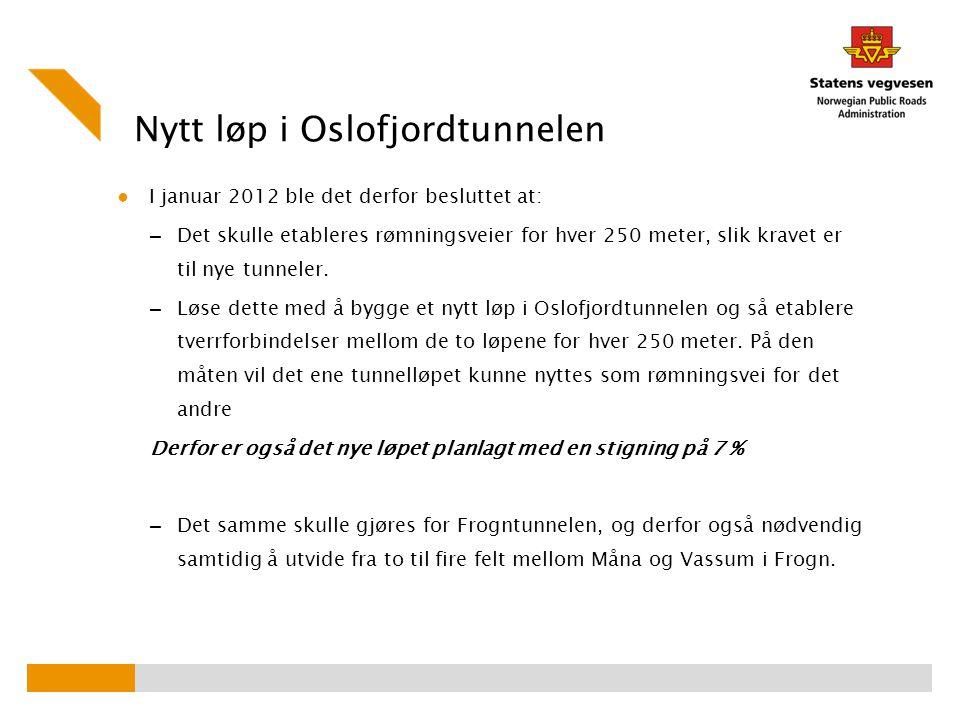 Nytt løp i Oslofjordtunnelen ● I januar 2012 ble det derfor besluttet at: – Det skulle etableres rømningsveier for hver 250 meter, slik kravet er til