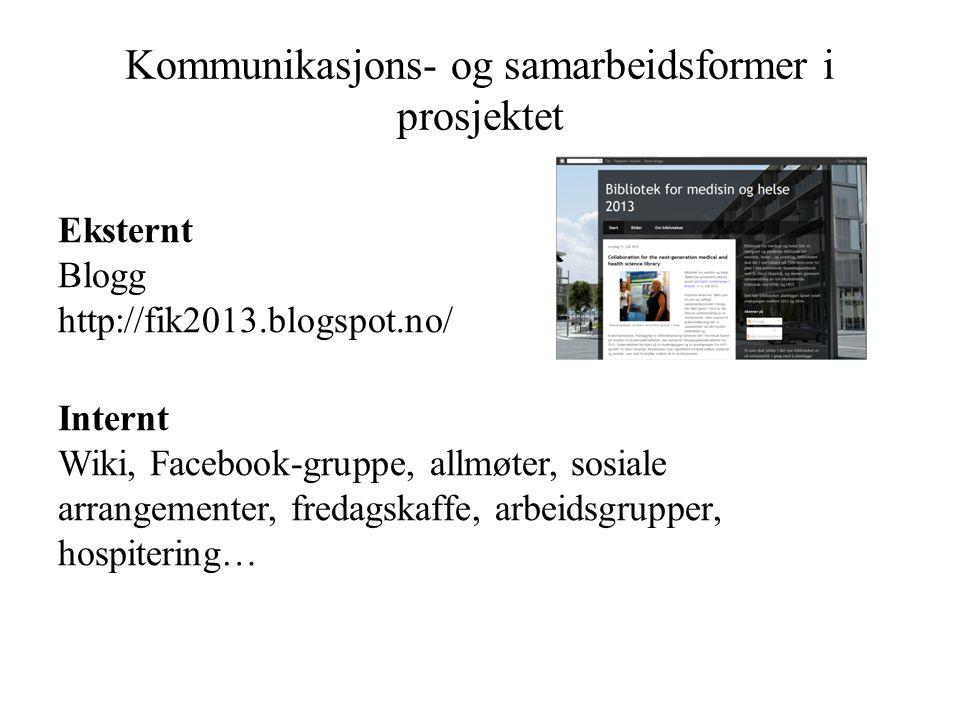 Kommunikasjons- og samarbeidsformer i prosjektet Eksternt Blogg http://fik2013.blogspot.no/ Internt Wiki, Facebook-gruppe, allmøter, sosiale arrangementer, fredagskaffe, arbeidsgrupper, hospitering…