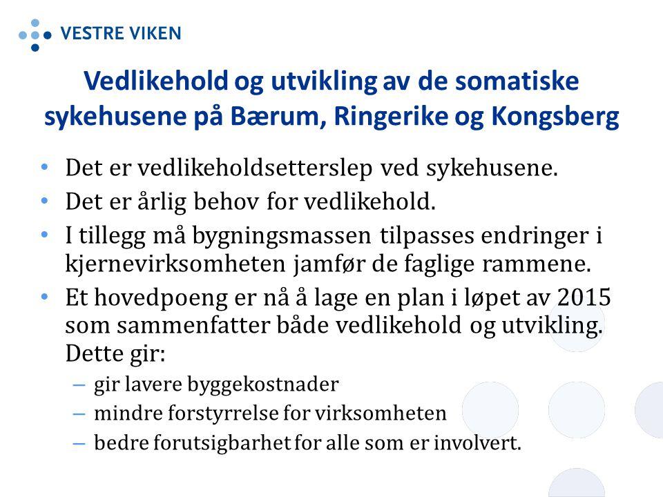 Vedlikehold og utvikling av de somatiske sykehusene på Bærum, Ringerike og Kongsberg Det er vedlikeholdsetterslep ved sykehusene. Det er årlig behov f