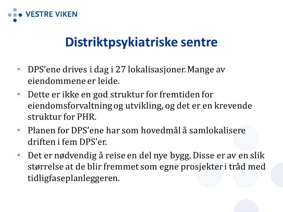 Distriktpsykiatriske sentre DPS'ene drives i dag i 27 lokalisasjoner. Mange av eiendommene er leide. Dette er ikke en god struktur for fremtiden for e