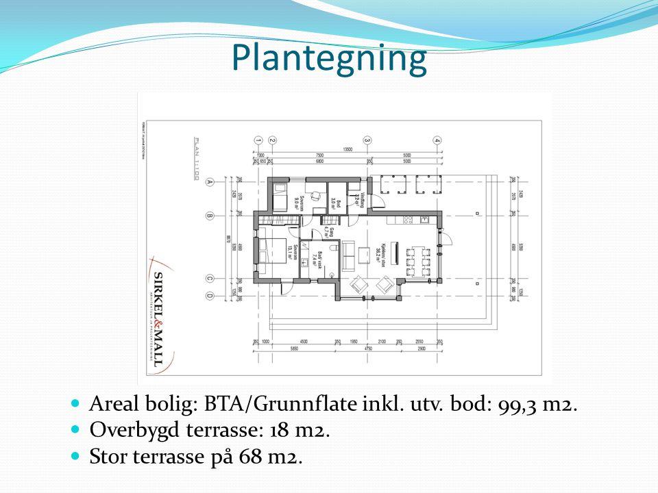 Plantegning Areal bolig: BTA/Grunnflate inkl. utv. bod: 99,3 m2. Overbygd terrasse: 18 m2. Stor terrasse på 68 m2.