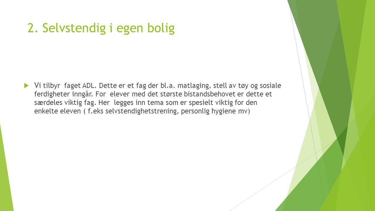 2. Selvstendig i egen bolig  V i tilbyr faget ADL.