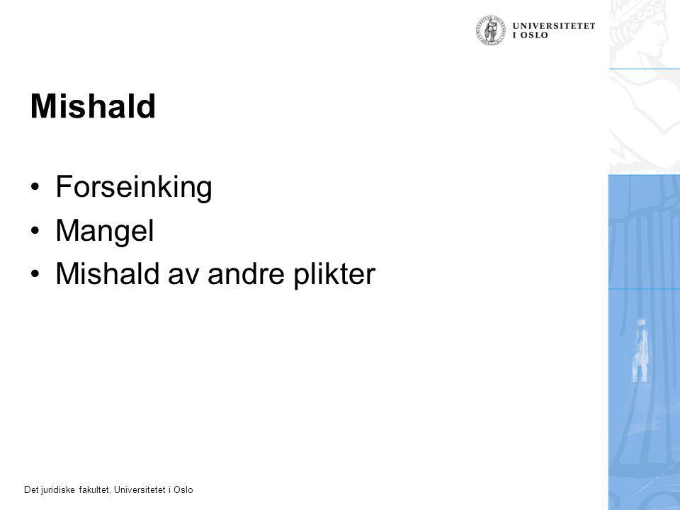 Det juridiske fakultet, Universitetet i Oslo Mishald Forseinking Mangel Mishald av andre plikter