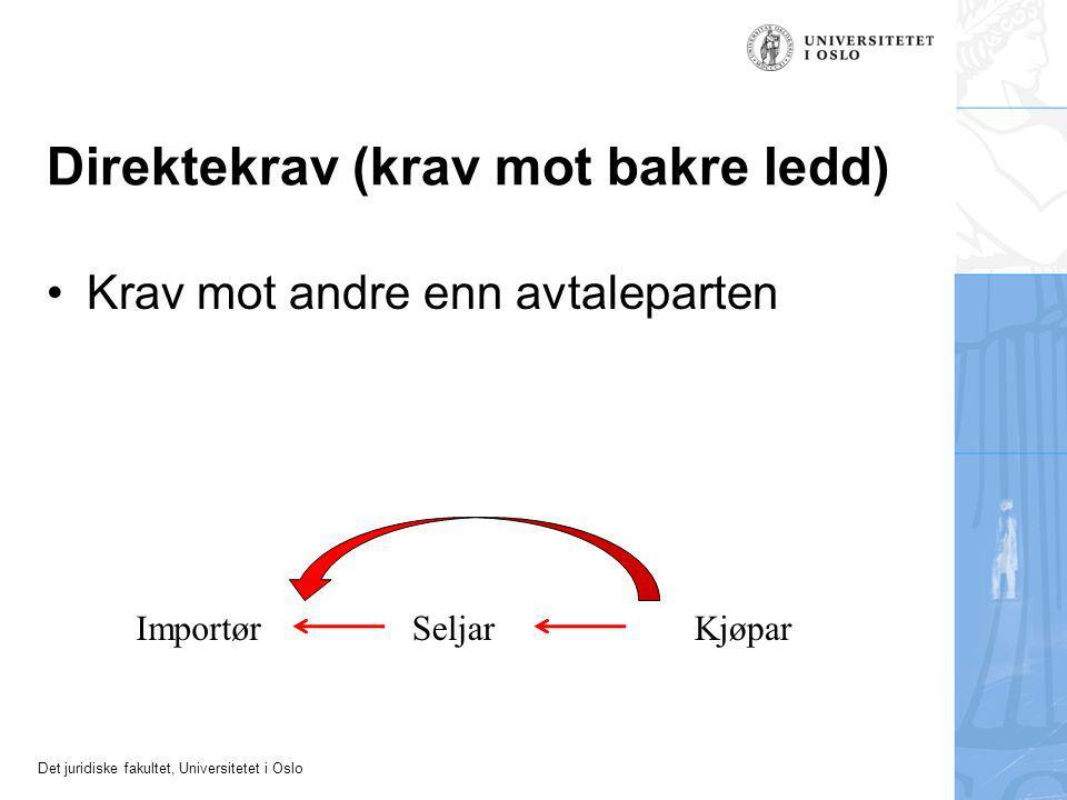 Det juridiske fakultet, Universitetet i Oslo Direktekrav (krav mot bakre ledd) Krav mot andre enn avtaleparten ImportørSeljarKjøpar