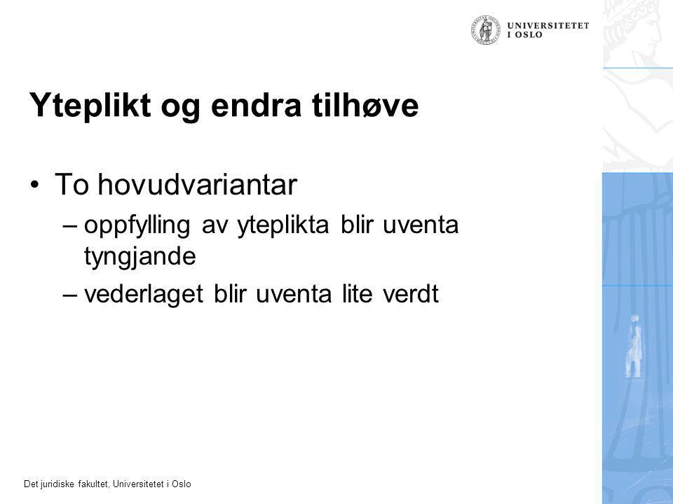 Det juridiske fakultet, Universitetet i Oslo Yteplikt og endra tilhøve To hovudvariantar –oppfylling av yteplikta blir uventa tyngjande –vederlaget blir uventa lite verdt